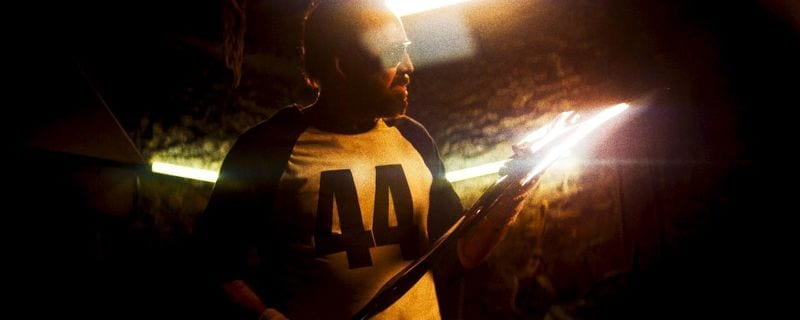 Nic Cage sharpens a huge axe in Mandy