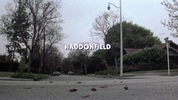a street in Haddonfield fictional location of Halloween movies