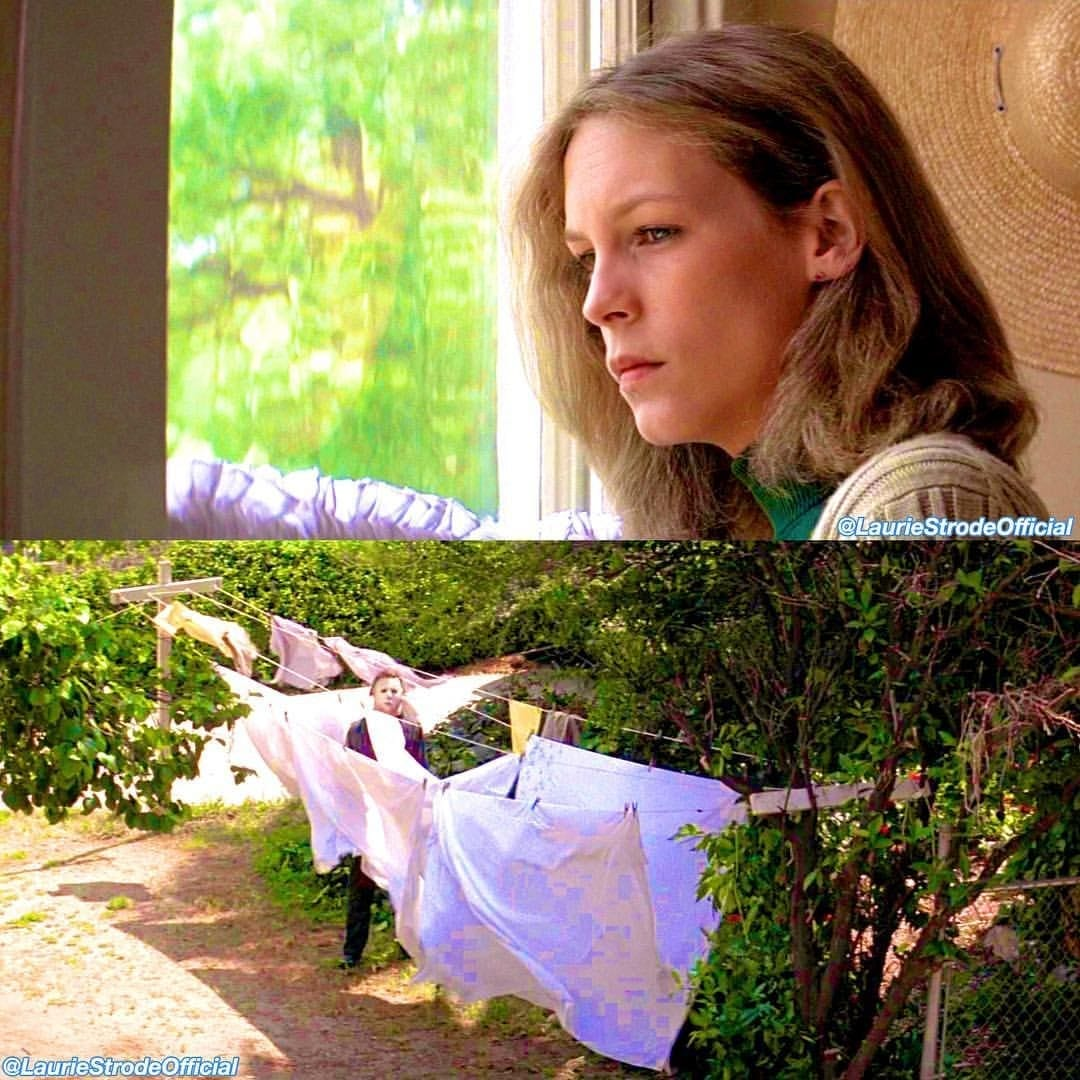 Laurie looks out of the window and sees Michael Myers standing within the sheets on the washing line