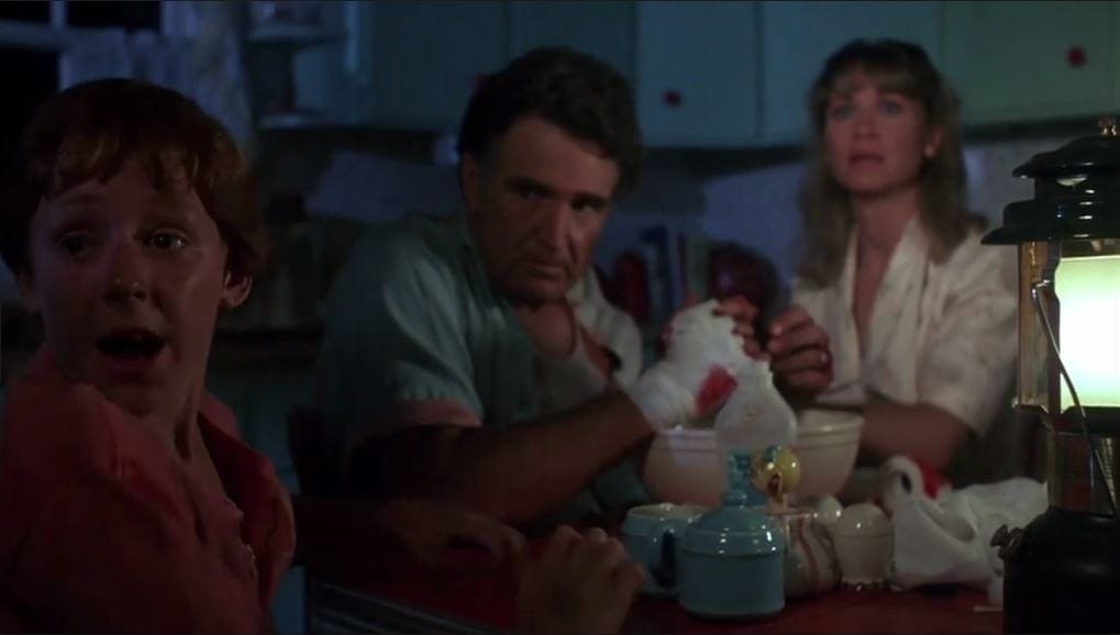Billy Green Bush, Scott Grimes, and Dee Wallace in Critters