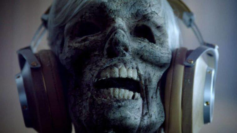 A skeleton wearing large headphones