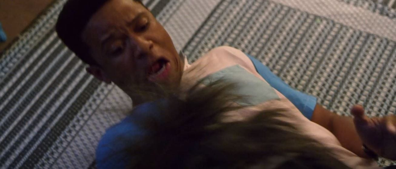 Actor Bzhaun Rhodan is attacked by a Critter.