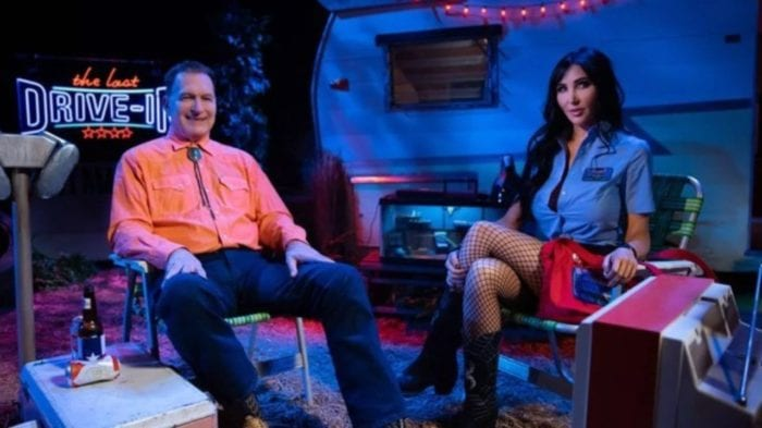 Joe Bob Briggs with Darcy on The Last Drive-In with Shudder.