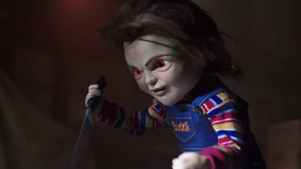 Chucky (voiced by Mark Hamill) turns evil in Child's Play (2019).