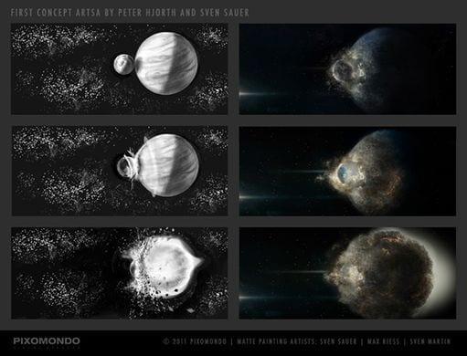 shot of planetary collision in Melancholia, Lars von Trier