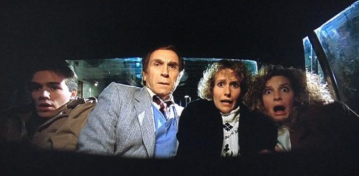 Sean (Scott Reeves), Charles McCullough (Peter Mark Richman), Ms. Van Deusen (Barbara Bingham) and Rennie (Jensen Daggett) react to a scary sight in Friday the 13th Part VIII: Jason Takes Manhattan.