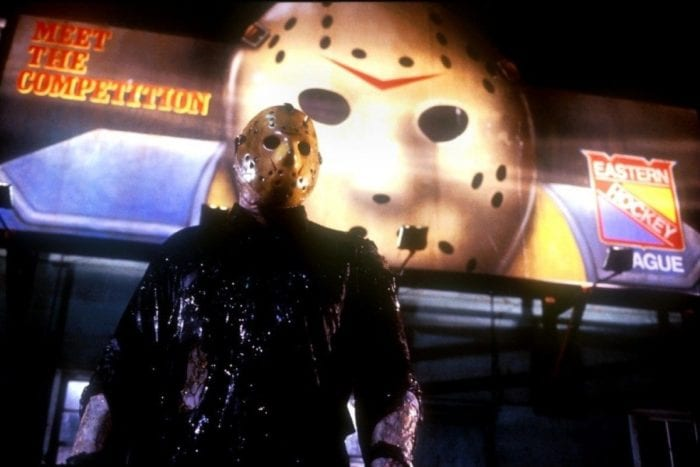 """Jason Voorhees (Kane Hodder) discovers that his mask comes from something called """"hockey"""" in Friday the 13th Part VIII: Jason Takes Manhattan."""