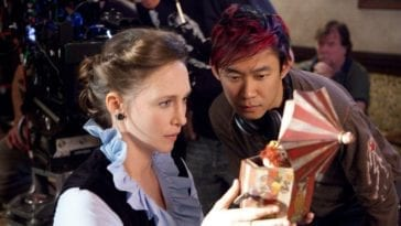 James Wan and Vera Farmigga on the set of The Conjuring