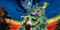 Cover art for Castlevania shows Simon Belmont, whip in hand, approaching Castlevania as Dracula's visage appears in the moonlight