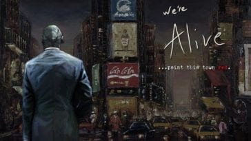 artistic impression of zombie apocalypse survivor in a suit in Times Square