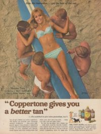 Sharon Tate lying on a surf board carried by four men in a Coppertan advert