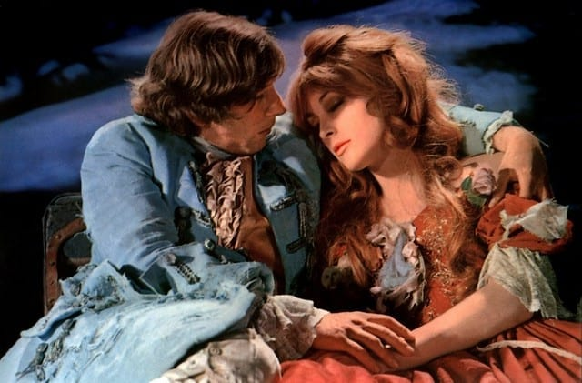 Sharon Tate and Roman Polanski embrace in The Fearless Vampire Killers