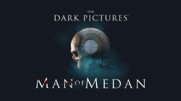 The text The Dark Pictures' Man of Medan surround a skull that is part compass and ship.