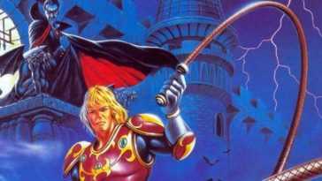 Simon stands before Castlevania, whip in hand, as Dracula peers down on him