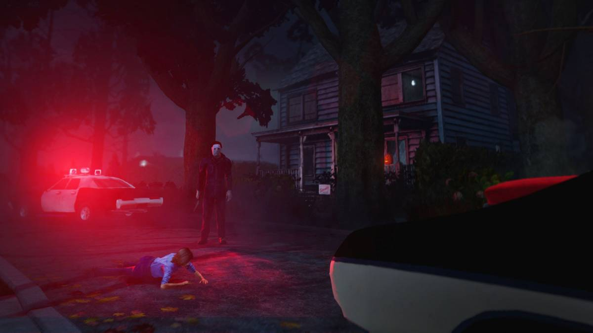 A street scene lit by police lights shows Michael standing over Laurie with his knife in hand