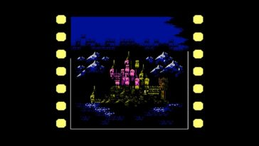 A film reel slows down to focus on a large gothic castle. Castlevania