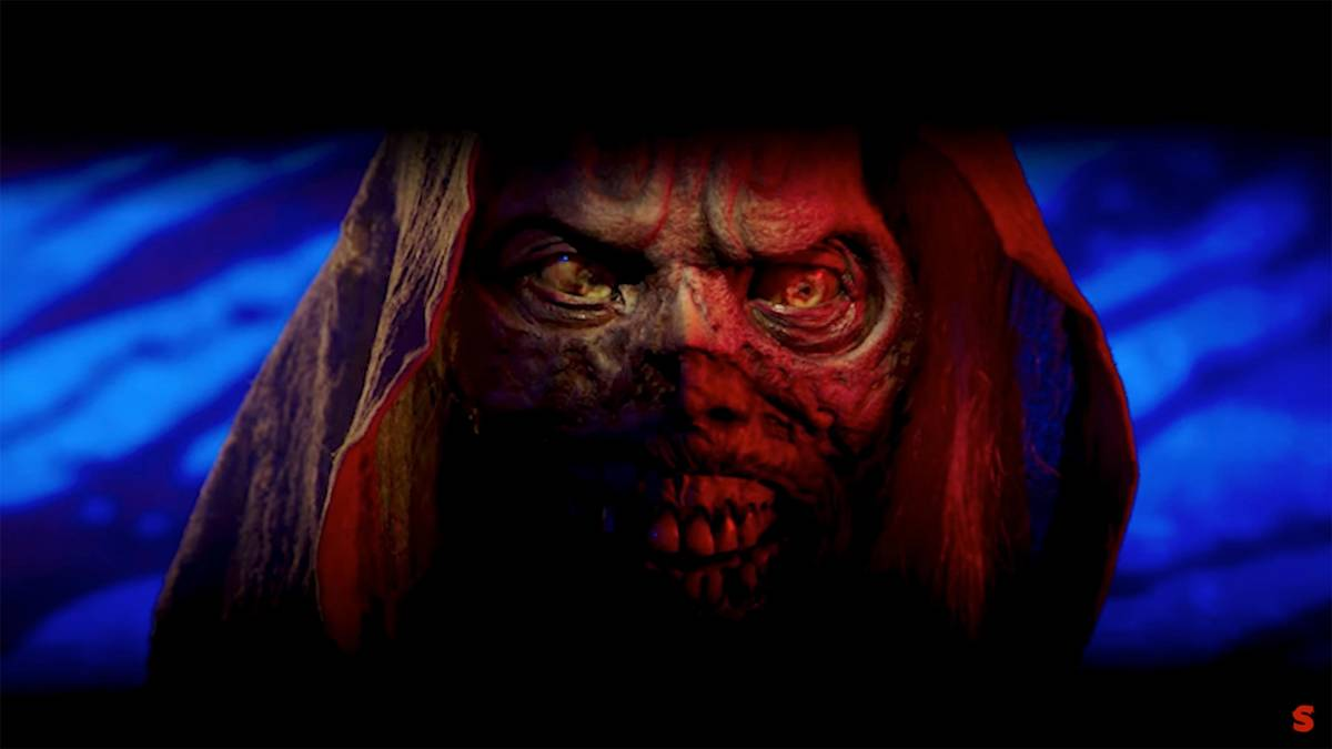 A close-up shot of the corpse-like face of The Creep from Shudder's Creepshow.