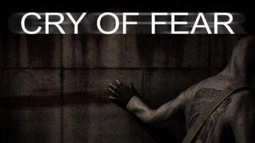 Cry of Fear title screen a man in a hoodie drags a blooded hand across a concrete wall