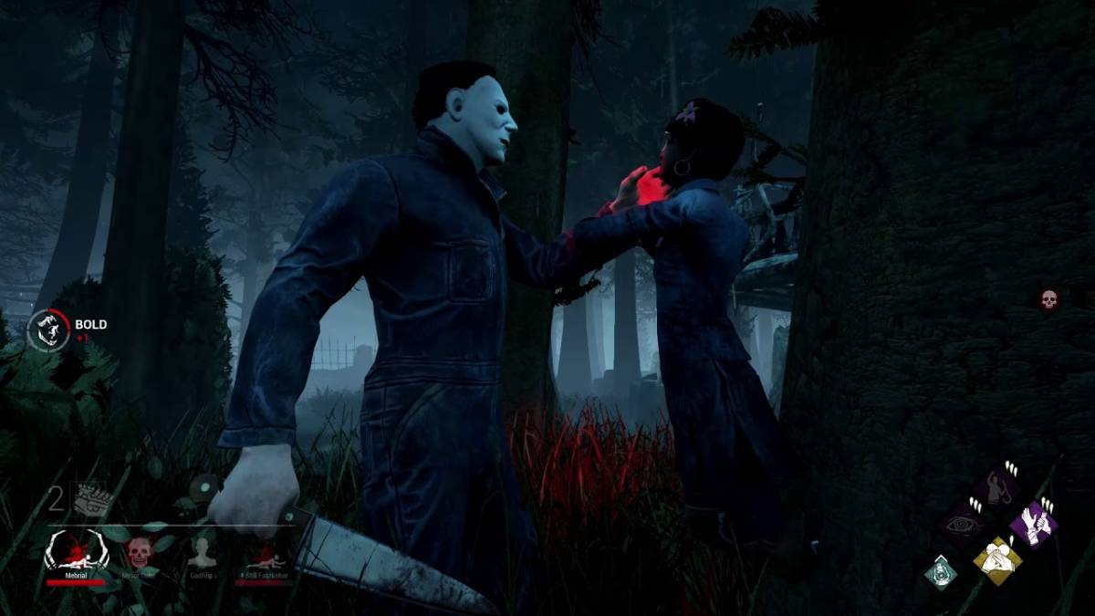 Michael Myers holds a victim against a tree by the throat with his knife in his other hand