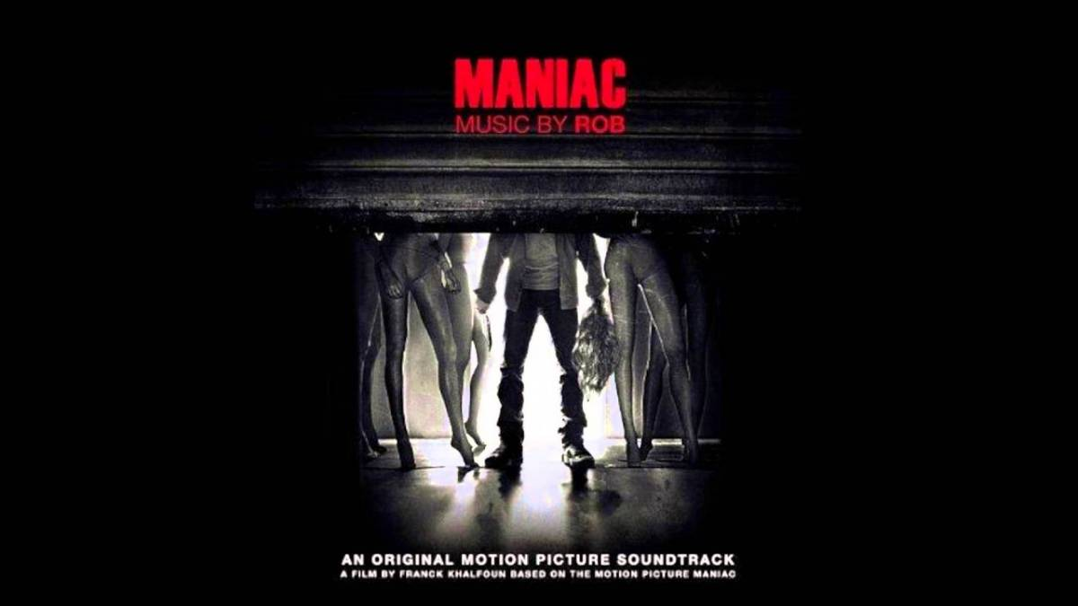 The cover art for the soundtrack to Maniac by Rob shows Frank partially hidden by a metal shutter with his mannequins behind him