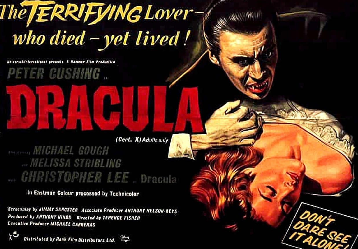 Movie poster with Christopher Lee for Dracula 1958
