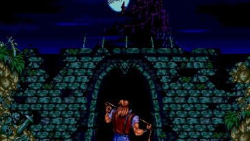 John Morris stands before the entry to Castlevania