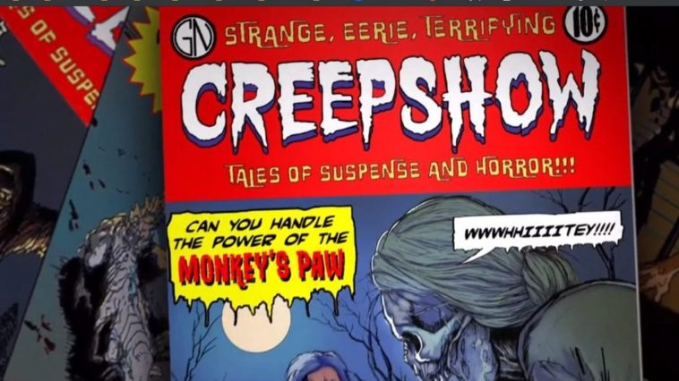 """Cover of the Creepshow comic with text that reads """"Can you handle to power of the monkeys paw"""" set before a full moon and skeletal corpes"""