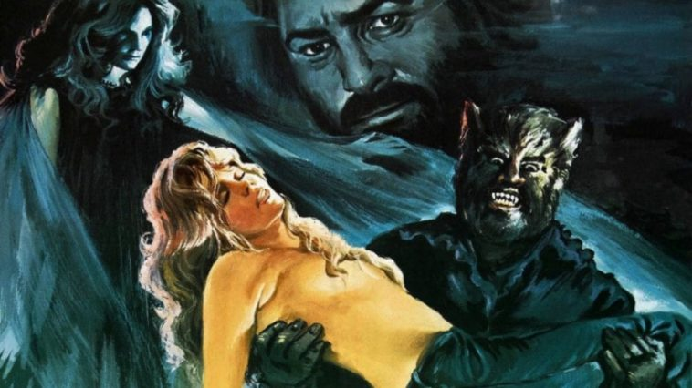 Movie poster illustration of PAul Naschy as Hobre Lobo carrying a topless woman who has fainted
