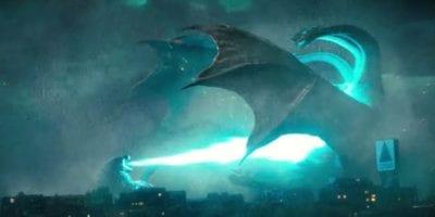 Godzilla blasts Ghidora with his atomic breath