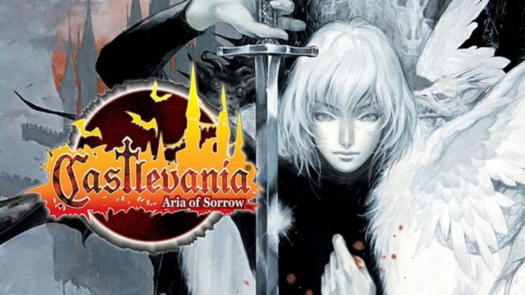 The title art for Castlevania Aria of Sorrow. Soma Cruz holds a silver sword upside down.