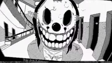A person wearing a creepy grinning mask peers into a peep hole at the player.
