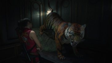 Claire observes a stuffed tiger in the creepy mayor's office.