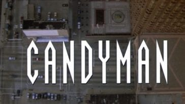 Candyman title screen, white text over an aerial shot of Chicago.