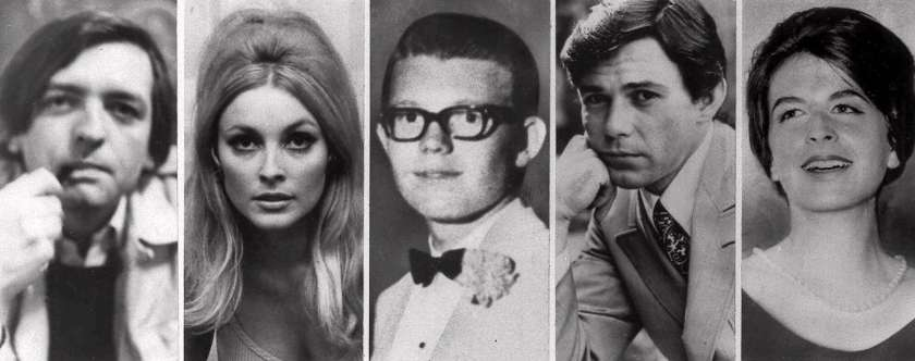 A black and white news paper photo of the the victims of the Tate-La Biance murders