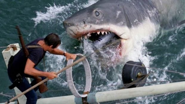 a massive great white shark attacks a man on a fishing boat