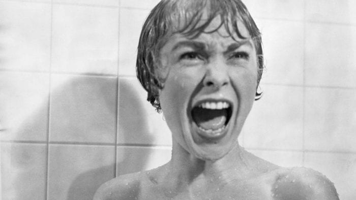 Janet Leigh screams in the original Psycho.