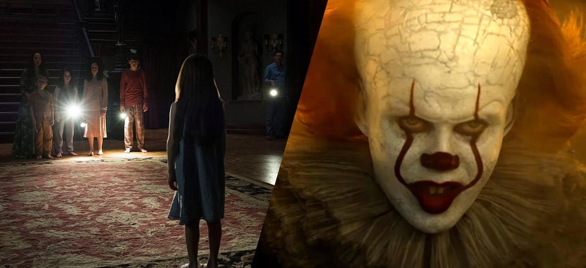 Split Image: The Crain Family stand in their entrance hall with flashlights, and Pennywise the Clown looks menacing