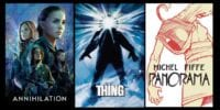 A spread of covers featuring Annihilation, The Thing, and Panorama