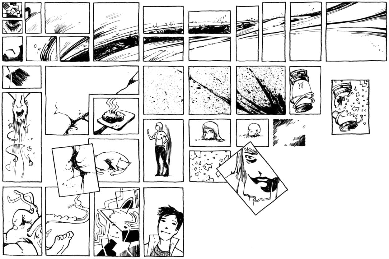 A series of panels from Panorama featuring Augusts, Kim, blood and mangled body parts.