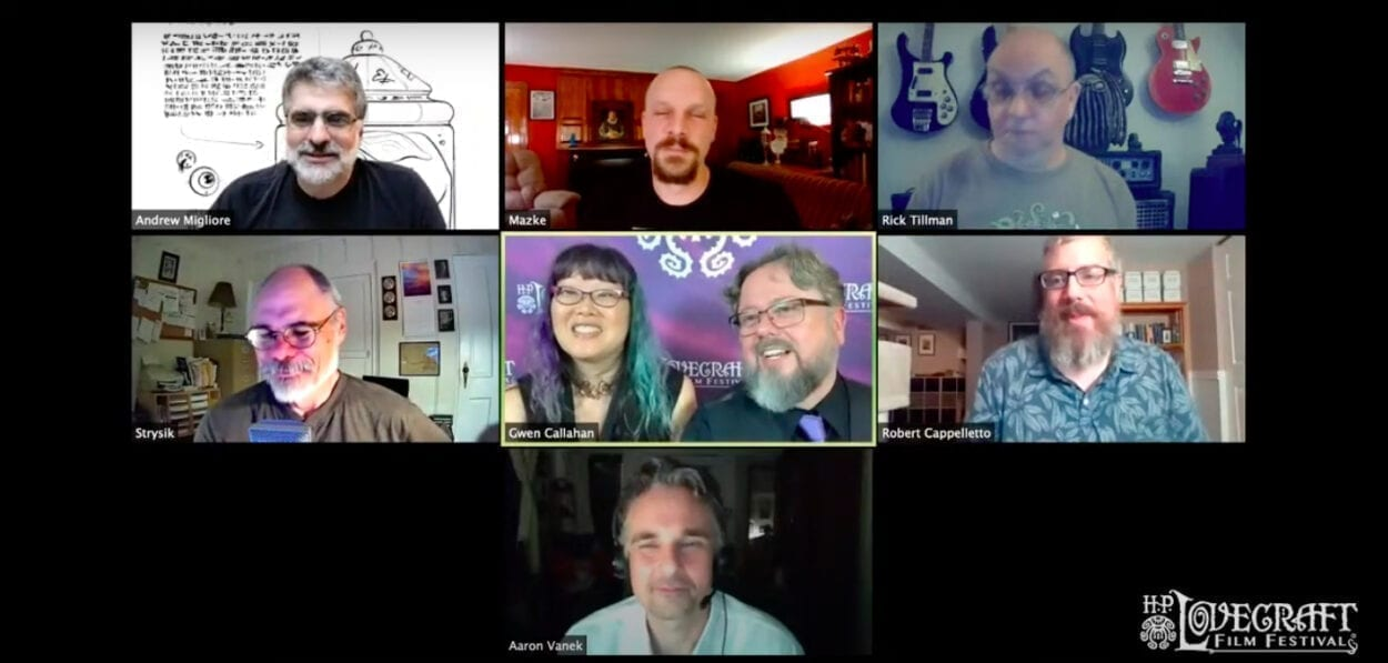 The H.P. Lovecraft Q&A with festival organizers Gwen and Brian Callahan, HPLFF founder Andrew Migliore and filmmakers Christian Mazke, Rick Tillman, John Strysik, Aaron Vanek, and Robert Cappalletto