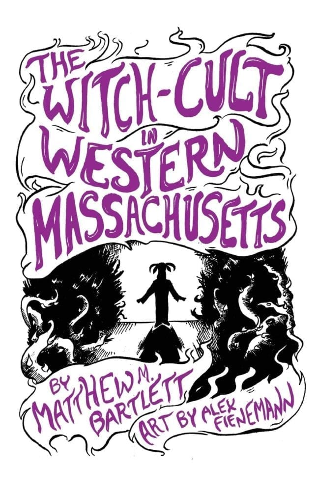 book cover for the witch cult in western Massachusetts book - the title is large purple letters like smoke over the silhouette of a goat headed man