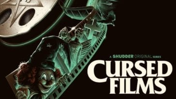 Cursed Films promotional poster featuring a green film strip containing images of a clown doll, an angel statue, a cross headstone, and a dove.