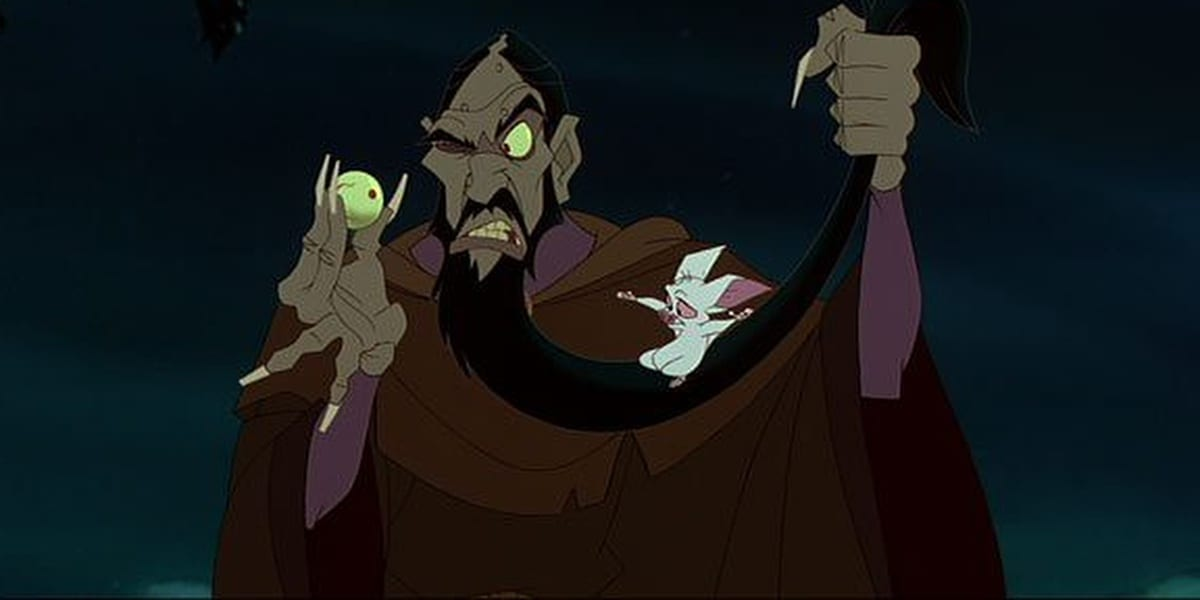 Rasputin in Anastasia, one hand holding onto his beard and another holding onto one of his eyeballs as he glares at it with Bartok on his beard
