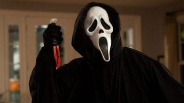 Ghostface wields his blade, ready to strike.