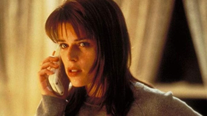 Sidney talks to Ghostface on the phone fearfully.
