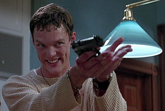Stu holds a gun and smiles as he reveals his plan to Sidney with Billy.