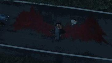 three men watch beside their car as aman lays in the middle of the road. The pattern of blood on the road looks like red wings. Another man with glasses on looks up towards the sky.