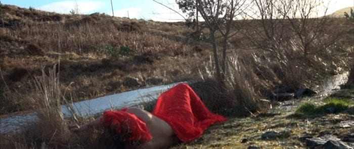 a woman wrapped in a vibrant red scarf lays in the reeds by a lake. her arm is protruding from the scarf.