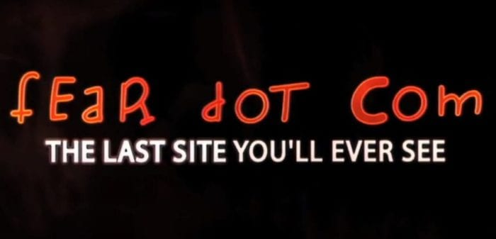 "The feardotcom logo and tag line suggesting this is ""the last site you'll ever see"""