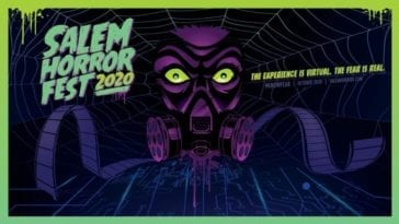 an animated card stating SALEM HORROR FEST 2020 with film running through a Reel to Reel embedded in a gasmask with very wide green eyes